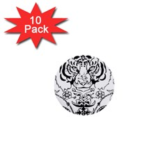 Tiger Animal Decoration Flower 1  Mini Buttons (10 Pack)
