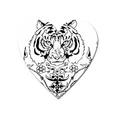 Tiger Animal Decoration Flower Heart Magnet by Celenk