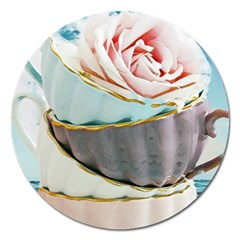 Tea Cups Magnet 5  (round) by 8fugoso