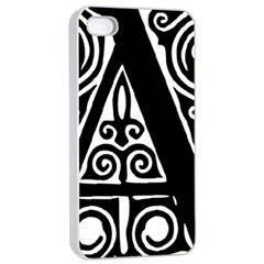 Alphabet Calligraphy Font A Letter Apple Iphone 4/4s Seamless Case (white)