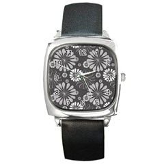 Floral Pattern Floral Background Square Metal Watch