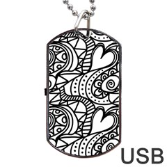 Seamless Tile Background Abstract Dog Tag Usb Flash (one Side) by Celenk