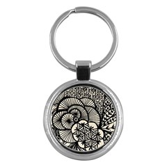 Background Abstract Beige Black Key Chains (round)  by Celenk