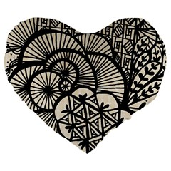 Background Abstract Beige Black Large 19  Premium Heart Shape Cushions by Celenk