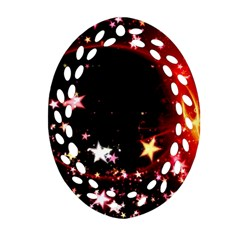 Circle Lines Wave Star Abstract Oval Filigree Ornament (two Sides) by Celenk