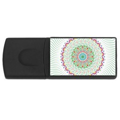Flower Abstract Floral Rectangular Usb Flash Drive