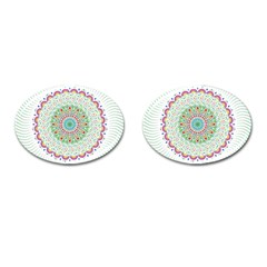 Flower Abstract Floral Cufflinks (oval) by Celenk