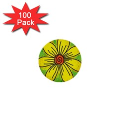 Flower Cartoon Painting Painted 1  Mini Buttons (100 Pack)  by Celenk