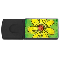 Flower Cartoon Painting Painted Rectangular Usb Flash Drive by Celenk