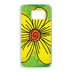 Flower Cartoon Painting Painted Samsung Galaxy S7 White Seamless Case by Celenk