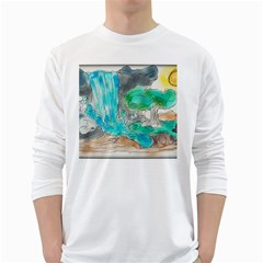 Doodle Sketch Drawing Landscape White Long Sleeve T Shirts by Celenk