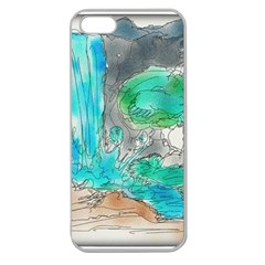 Doodle Sketch Drawing Landscape Apple Seamless Iphone 5 Case (clear)