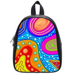 Abstract Pattern Painting Shapes School Bag (small) by Celenk