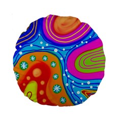 Abstract Pattern Painting Shapes Standard 15  Premium Round Cushions