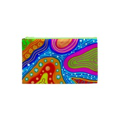 Abstract Pattern Painting Shapes Cosmetic Bag (xs) by Celenk