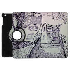Doodle Drawing Texture Style Apple Ipad Mini Flip 360 Case by Celenk