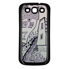 Doodle Drawing Texture Style Samsung Galaxy S3 Back Case (black) by Celenk