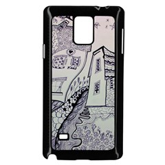 Doodle Drawing Texture Style Samsung Galaxy Note 4 Case (black)