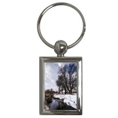 Winter Bach Wintry Snow Water Key Chains (rectangle)  by Celenk