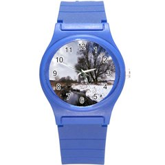 Winter Bach Wintry Snow Water Round Plastic Sport Watch (s) by Celenk