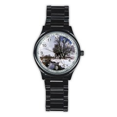 Winter Bach Wintry Snow Water Stainless Steel Round Watch by Celenk
