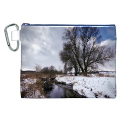 Winter Bach Wintry Snow Water Canvas Cosmetic Bag (xxl)