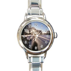 Winter Lake Cold Wintry Frozen Round Italian Charm Watch by Celenk