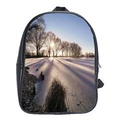 Winter Lake Cold Wintry Frozen School Bag (large) by Celenk