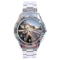 Winter Lake Cold Wintry Frozen Stainless Steel Analogue Watch by Celenk