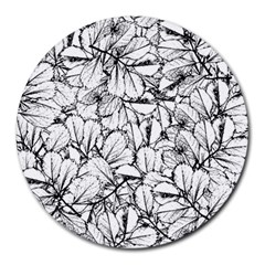White Leaves Round Mousepads by SimplyColor