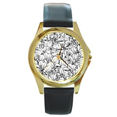 White Leaves Round Gold Metal Watch by SimplyColor