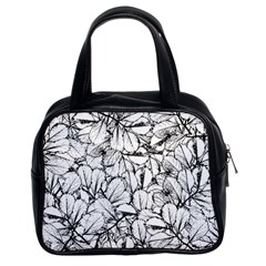 White Leaves Classic Handbags (2 Sides) by SimplyColor