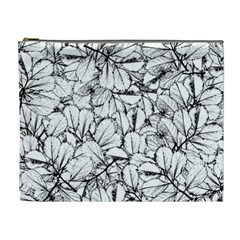 White Leaves Cosmetic Bag (xl) by SimplyColor