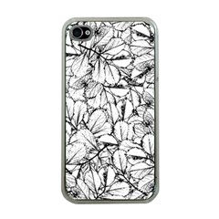 White Leaves Apple Iphone 4 Case (clear) by SimplyColor