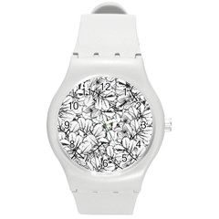 White Leaves Round Plastic Sport Watch (m) by SimplyColor