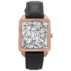 White Leaves Rose Gold Leather Watch  by SimplyColor