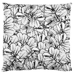 White Leaves Large Flano Cushion Case (two Sides) by SimplyColor