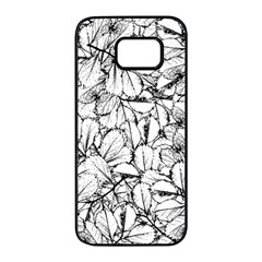 White Leaves Samsung Galaxy S7 Edge Black Seamless Case by SimplyColor