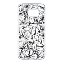 White Leaves Samsung Galaxy S7 Edge White Seamless Case by SimplyColor
