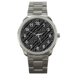 Tribal Stripes Pattern Sport Metal Watch by dflcprints