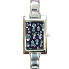 Cactus Pattern Rectangle Italian Charm Watch by allthingseveryone