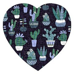 Cactus Pattern Jigsaw Puzzle (heart) by AllThingsEveryone