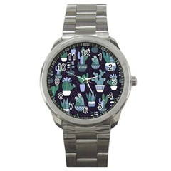 Cactus Pattern Sport Metal Watch by AllThingsEveryone