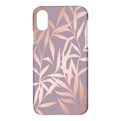 Rose Gold, Asian,leaf,pattern,bamboo Trees, Beauty, Pink,metallic,feminine,elegant,chic,modern,wedding Apple Iphone X Hardshell Case by 8fugoso