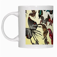 Colorful Butterflies White Mugs