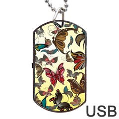 Colorful Butterflies Dog Tag Usb Flash (two Sides)