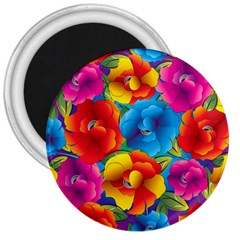 Neon Colored Floral Pattern 3  Magnets