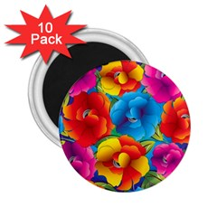 Neon Colored Floral Pattern 2 25  Magnets (10 Pack)  by AllThingsEveryone
