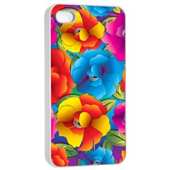 Neon Colored Floral Pattern Apple Iphone 4/4s Seamless Case (white)