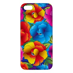 Neon Colored Floral Pattern Apple Iphone 5 Premium Hardshell Case by allthingseveryone